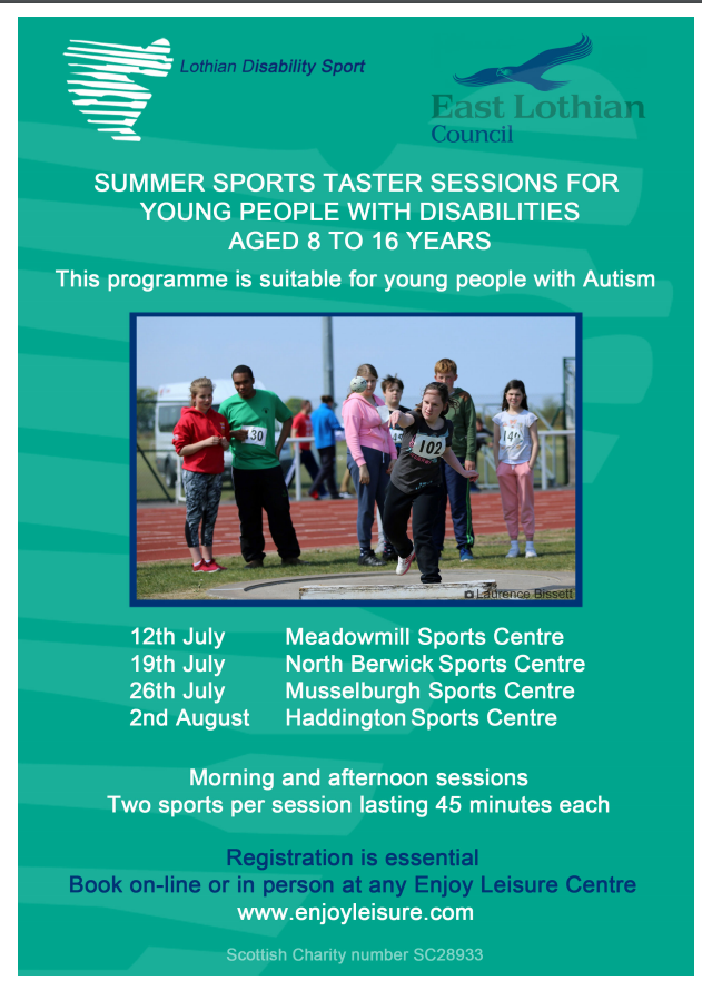 Summer Sports Taster Sessions for Young People with Disabilities Age 8-16