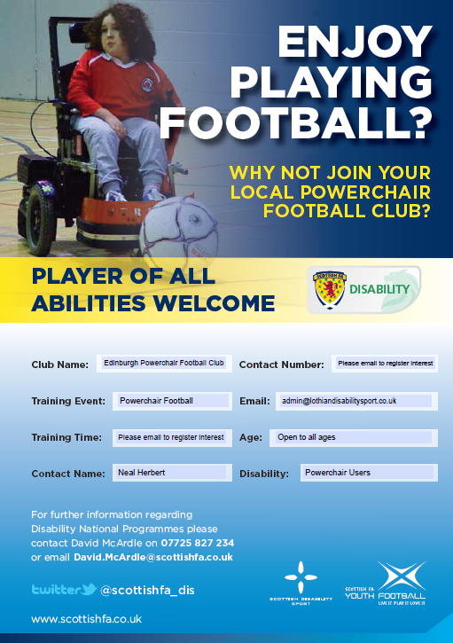 Powerchair Football in Edinburgh and the Lothian Region